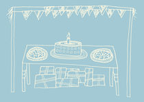 Happy Birthday Table on Blue by Tasha Goddard
