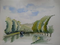 Canal Saone-Marne by Theodor Fischer