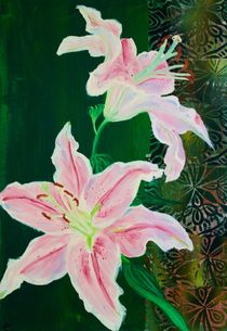 Pink Lilies on Green by yezarck