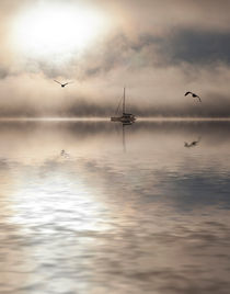Yacht in mist by Sheila Smart