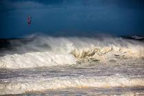 Kite surfer amongst heavy surf by Sheila Smart