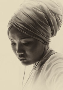 Portrait of a young woman in a turban by Sheila Smart