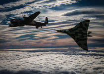 Lancaster and Vulcan iconic bomber aircraft by P M