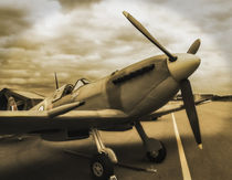 Spitfire fighter in Sepia by P M