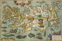 Iceland Map 1590 von vintage