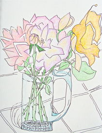 Roses in a Glass Mug by Christine Chase Cooper