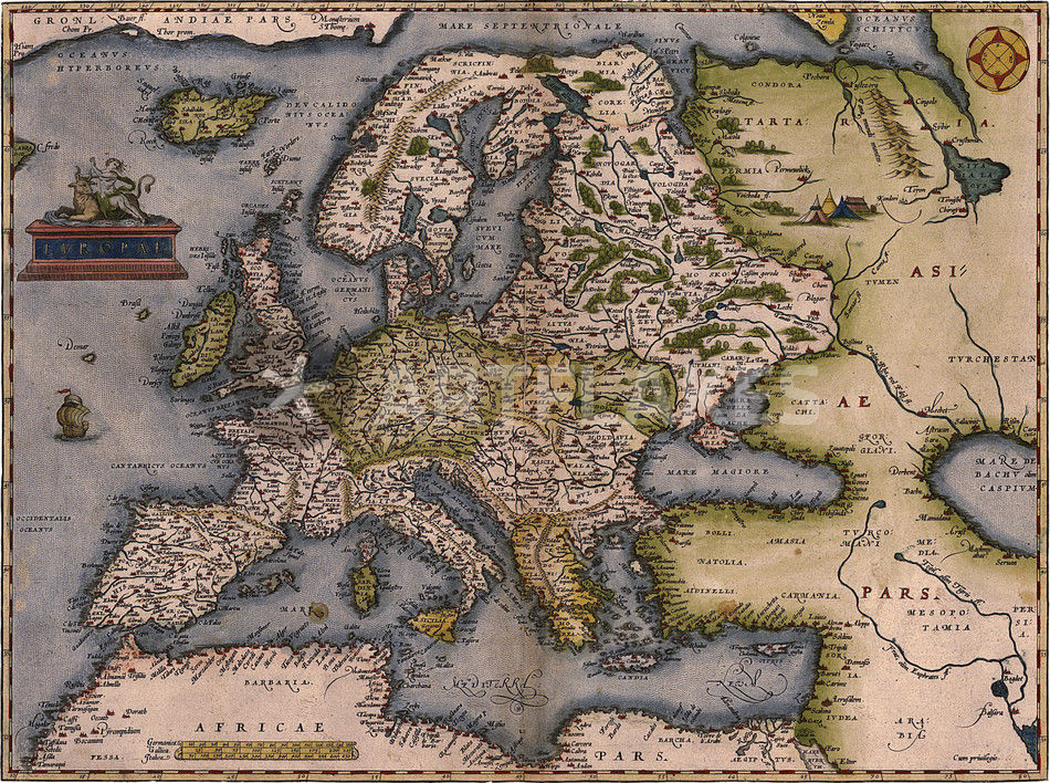 Europe Map GraphicIllustration Art Prints And Posters By - Vintage europe map poster