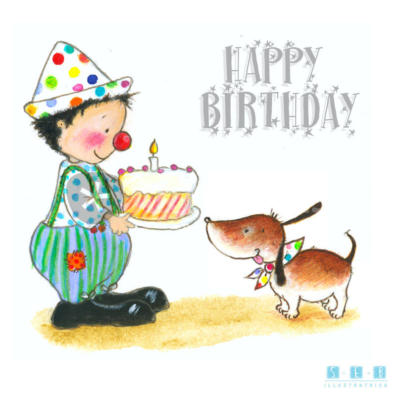 Artflakes Happy Birthday Clown