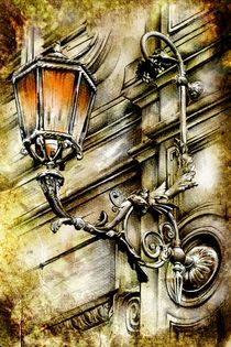lamp street vintage retro art drawing von Rafal Kulik