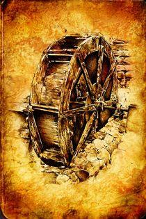 water mill wheel design art drawing by Rafal Kulik