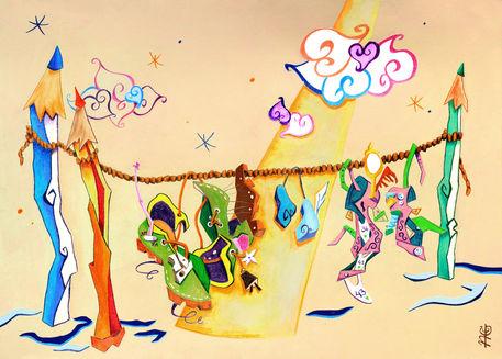 Dibujo-zapatos-nino-familia-pencil-drawing-clothesline