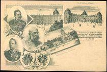 Litho Großjährigkeitserklärung Kronprinz Wilhelm, Franz Josef von Österreich, Kaiser Wilhelm II,1900 von arkivi