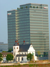 Kirche Alt-St. Heribert vor dem Lanxess-Tower, Köln Cologne by Eva-Maria Di Bella