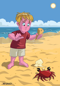 cartoon boy with crab on beach by Martin  Davey