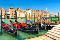 Gondolas on the Grand Canal in Venice, Italy by Michael Abid