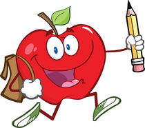 Apple With School Bag And Pencil Goes To School von hittoon