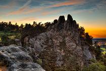Teufelsmauer Harz bei Blankenburg im Sonnenuntergang von Daniel Kühne