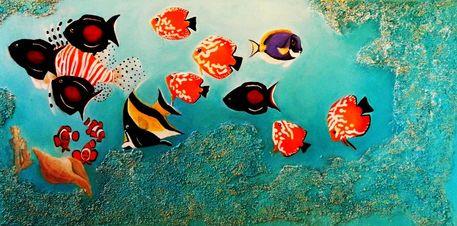 """""""tropische fische"""" malerei als poster und kunstdruck von"""