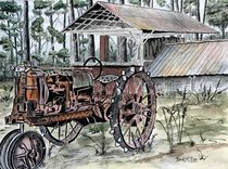 farm tractor folk art print by Derek McCrea