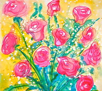 Roses and Baby's Breath by Christine Chase Cooper