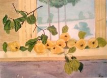 Gelbe Quitten am Fenster by Rena Rady