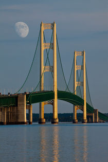Mackinaw Bridge by the Straits of Mackinac and Moon by Randall Nyhof