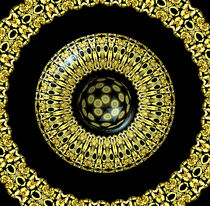 Gold And Black Stained Glass Kaleidoscope Under Glass von Rose Santuci-Sofranko