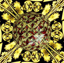 Golden Stained Glass Kaleidoscope Under Glass by Rose Santuci-Sofranko