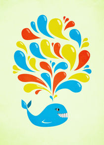Colorful Swirls Happy Cartoon Whale by Boriana Giormova