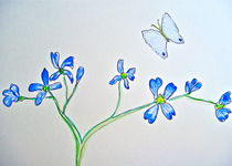 'Blue Butterfly with Wildflowers' von Christine Cooper