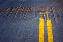 Double Yellow Lines on a Road in San Diego California by Randall Nyhof
