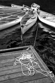 Canoes tethered together in a circle von Randall Nyhof