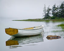 White Maine Boat on a Foggy Morning by Randall Nyhof