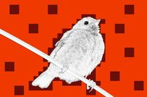 digital naive sparrow in red with brown stains - digital naiver spatz in orange mit braunen flecken by mateart