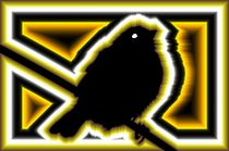 digital naive sparrow in yellow and black  - digital naiver spatz in gelb und schwarz by mateart
