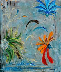 Blue-green-red-flowers