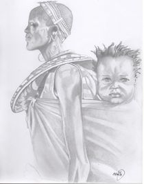 black woman and child von Michel Kress