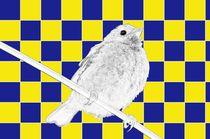 Besser der Spatz an der Wand als die Taube auf dem Dach blau/gelb - A bird on the wall is worth two in the bush blue/yellow von mateart