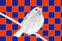 Besser der Spatz an der Wand als die Taube auf dem Dach rot/blau - A bird on the wall is worth two in the bush red/blue by mateart