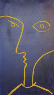 Gelbes Gesicht auf blauer Leinwand von Neo Dietrich