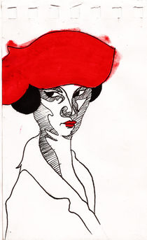 Fille au chapeau rouge  by Alfredo  Saavedra