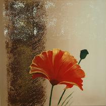 Senkrechte Triptychon Mohnblumen I by Lidija Kämpf