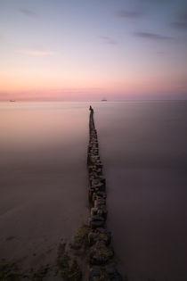 Buhnen am Strand von Warnemünde von Michael Zieschang