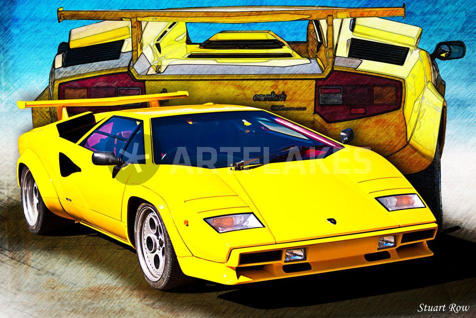 "An41 Lamborghini Car Exotic White Art: ""Yellow Lamborghini Countach"" Photography Art Prints And"