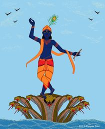 Krishna Dancing on Kaliya Snake by Pratyasha Nithin