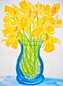 Jonquils in a Blue Vase by Christine Chase Cooper