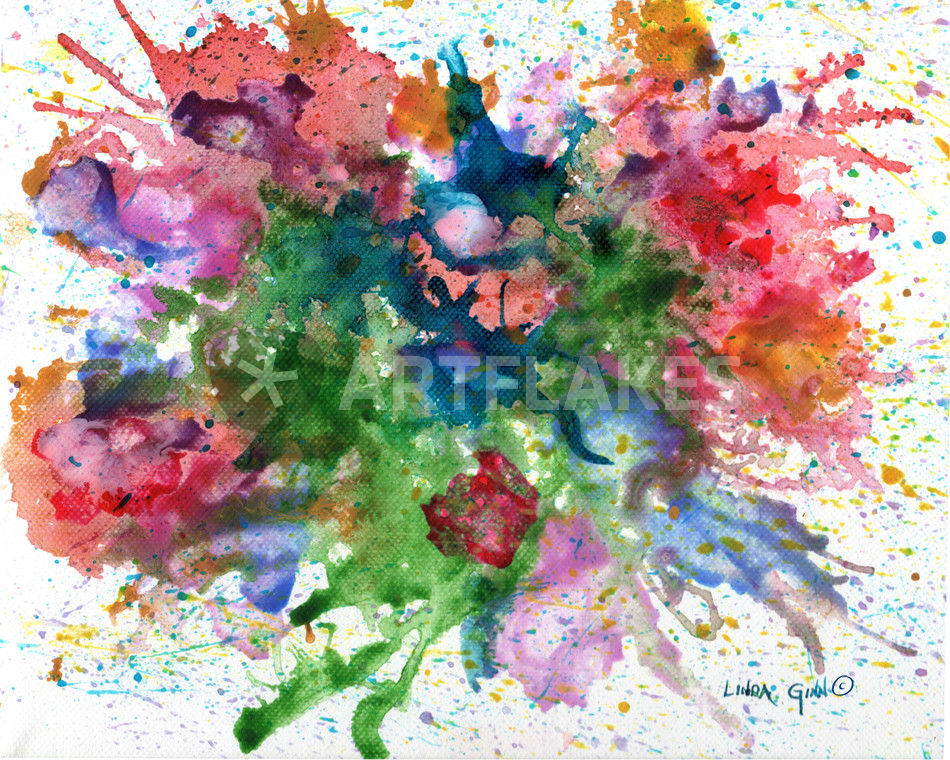 color explosion painting art prints and posters by linda ginn