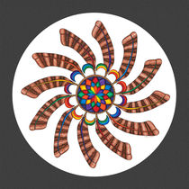 Dreamcatcher Mandala Print - Full Color w/Grey Matte von themandalalady