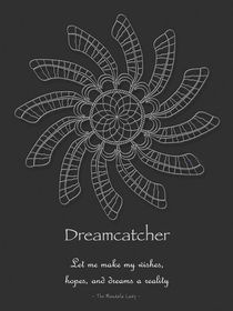 Dreamcatcher Mandala Poster - White on Grey, w/Msg von themandalalady