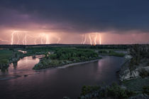 Yellowstone River Lightning by Leland Howard